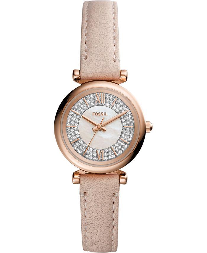 Fossil - Women's Carlie Mini Blush Leather Strap Watch 28mm
