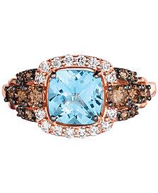 Le Vian Chocolatier® Blue Topaz (1-1/2 ct. t.w.) & Diamond (5/8 ct. t.w.) Ring in 14k Strawberry Gold