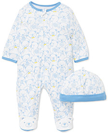 Little Me Baby Boys 2-Pc. Cotton Teddy-Print Hat & Footed Coverall