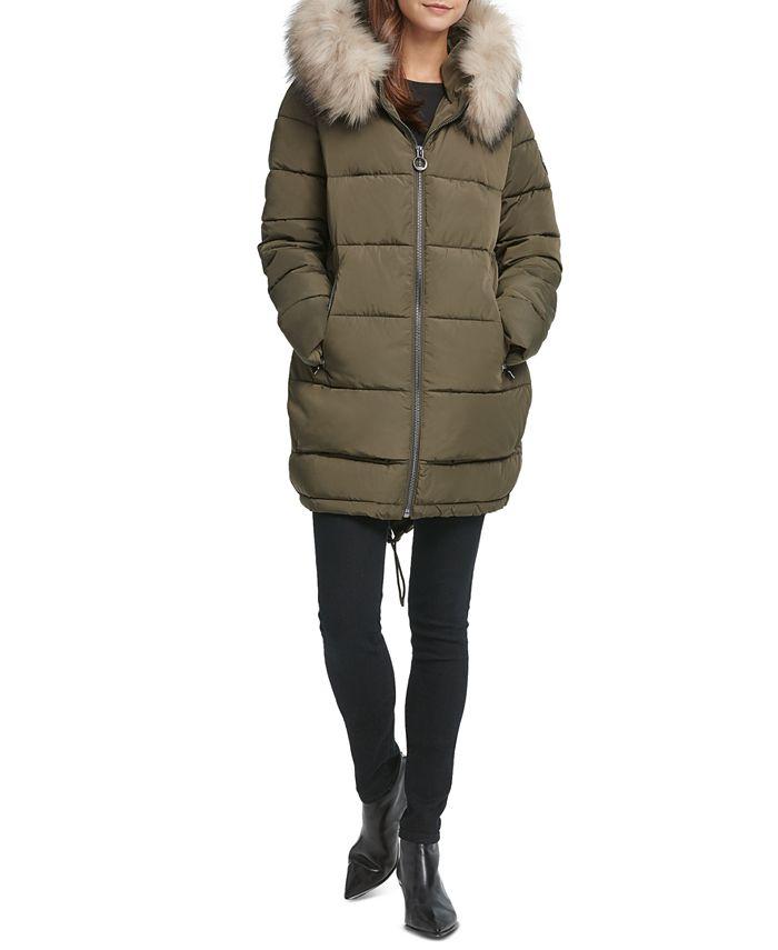 Dkny Faux Fur Trim Hooded Puffer Coat, Faux Fur Coat Hood Trim