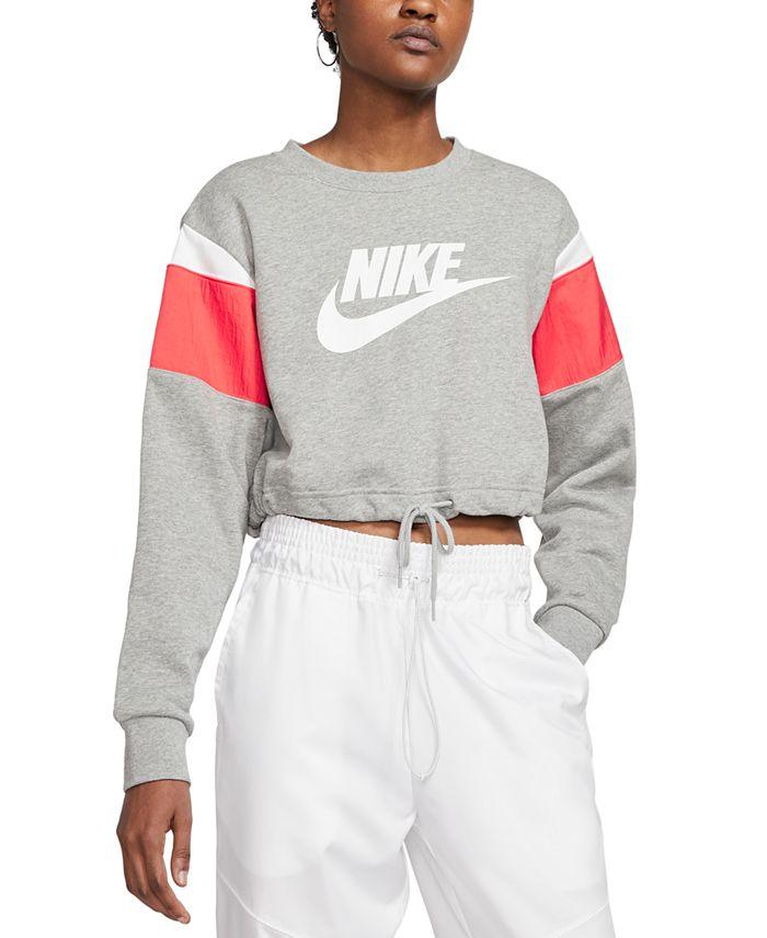 Nike - Sportswear Colorblocked Logo Cropped Sweatshirt