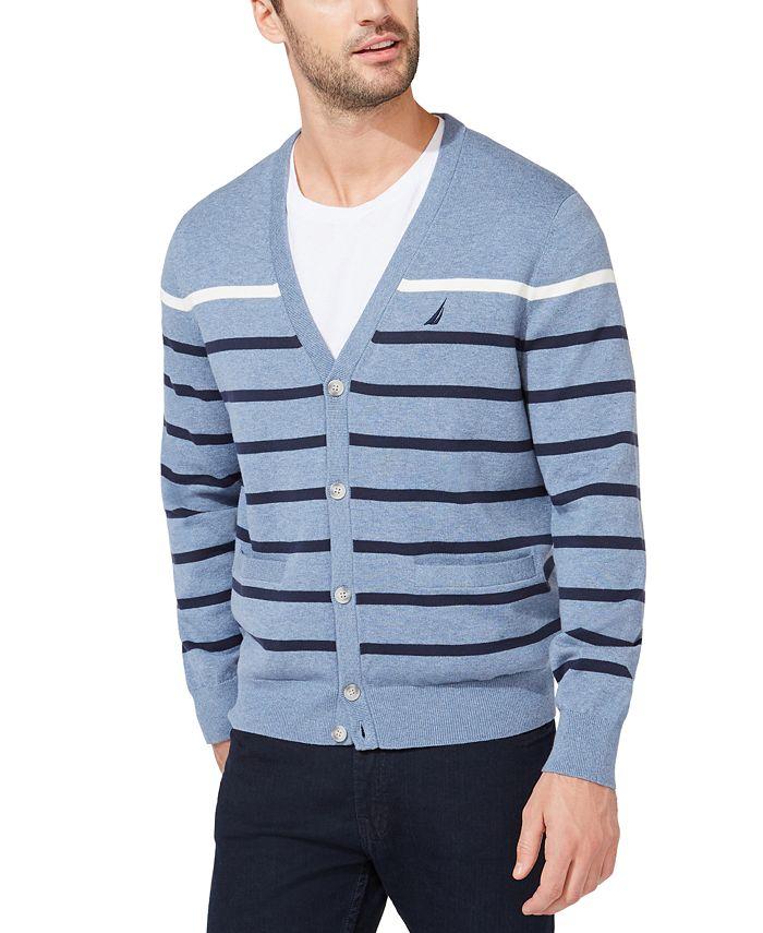 Nautica - Men's Striped V-Neck Button Cardigan