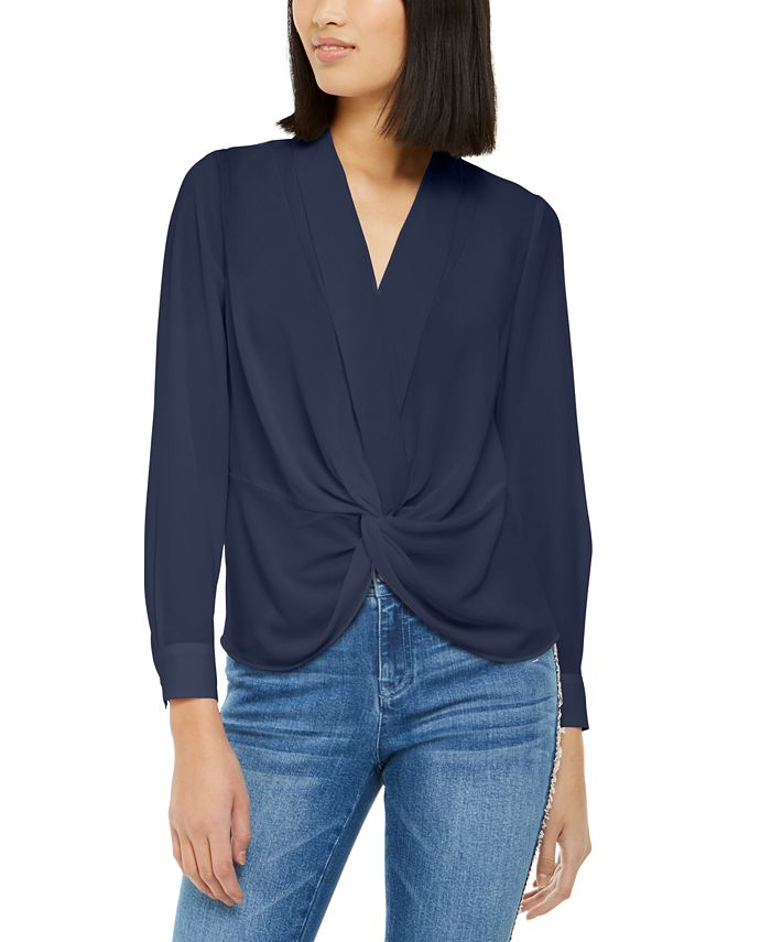 INC International Concepts - Solid Twist-Front Blouse