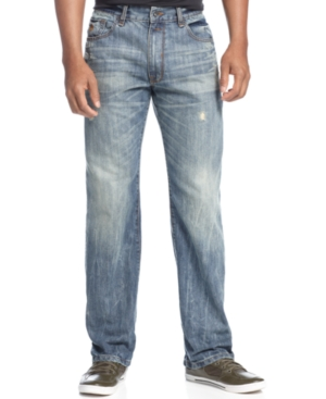 Rocawear Jeans Lifetime Distressed Straight Leg Jeans