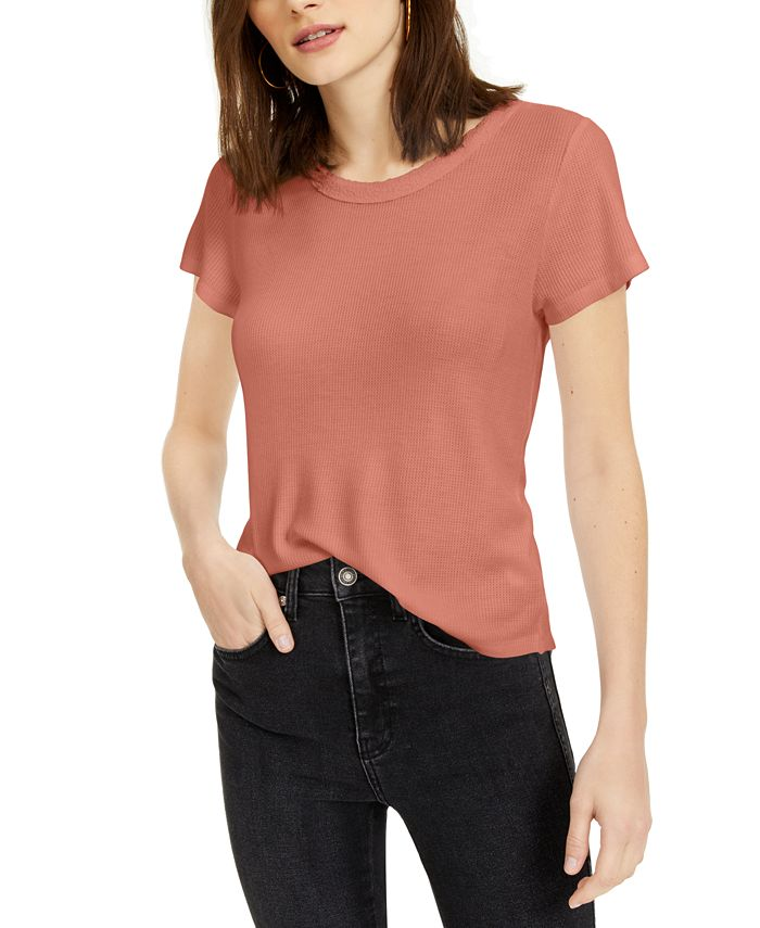 Hippie Rose - Juniors' Lace-Trimmed Waffle-Knit T-Shirt