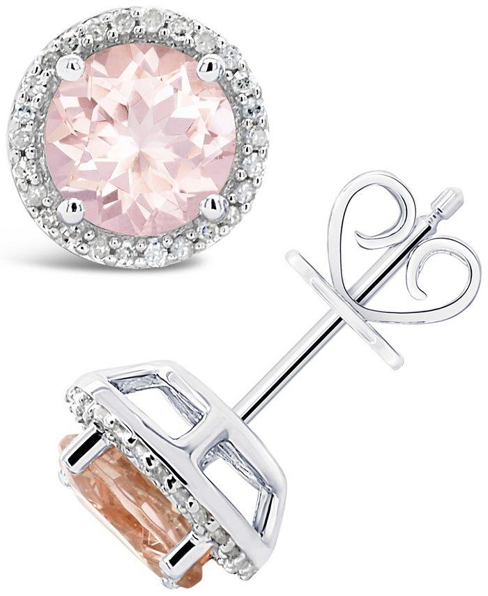 Macy's - Morganite (2-1/2 ct. t.w.) and Diamond (1/6 ct. t.w.) Stud Earrings in Sterling Silver