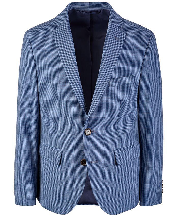 Lauren Ralph Lauren - Big Boys Classic-Fit Stretch Blue/Brown Mini-Check Suit Jacket