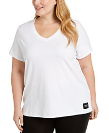 Calvin Klein Performance Plus Size Logo Patch V-Neck T-Shirt