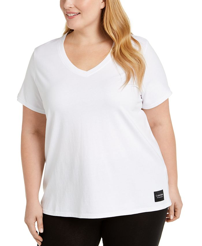 Calvin Klein - Plus Size Logo Patch V-Neck T-Shirt