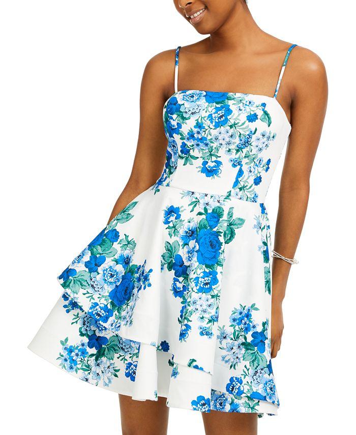 B Darlin - Juniors' Floral-Print Scuba Crepe Dress