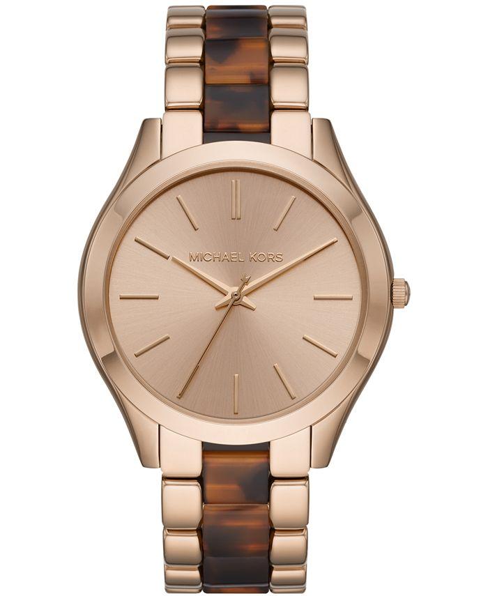 Michael Kors - Women's Runway Slim Rose Gold-Tone Stainless Steel & Tort Acetate Bracelet Watch 42mm