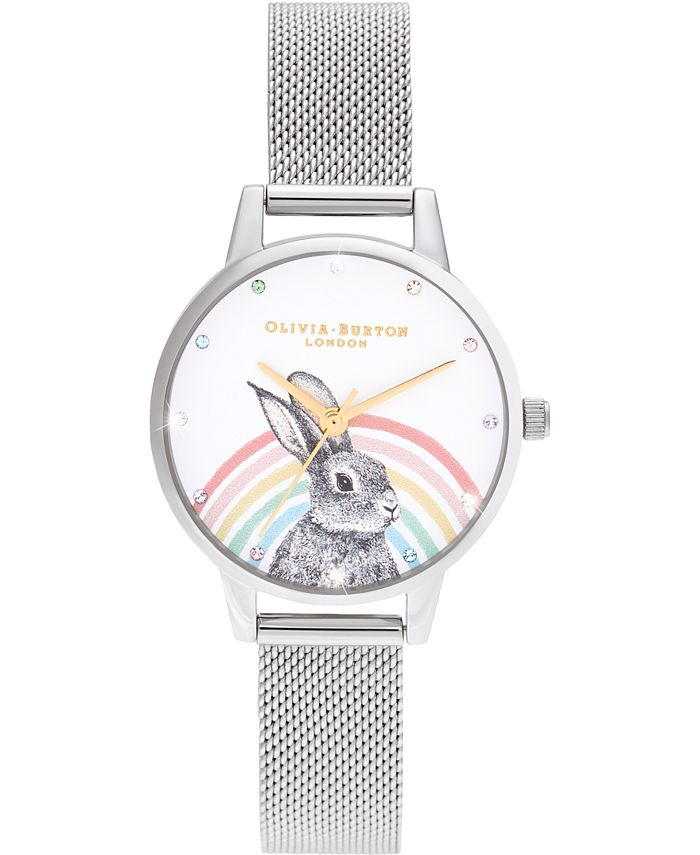 Olivia Burton - Women's Illustrated Animals Stainless Steel Mesh Bracelet Watch 30mm
