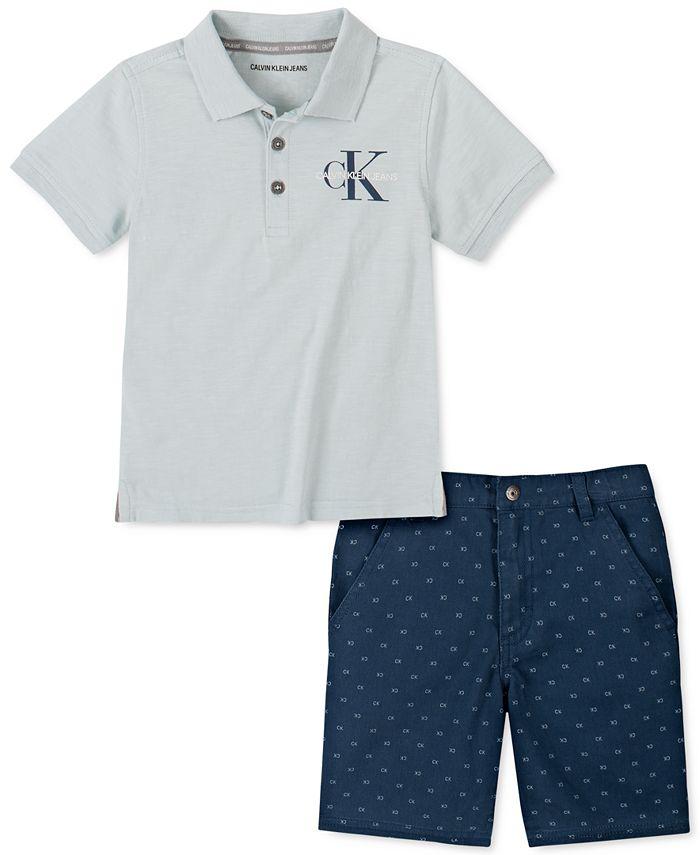 Calvin Klein - Little Boys 2-Pc. Logo-Print Polo Shirt & Twill Shorts Set