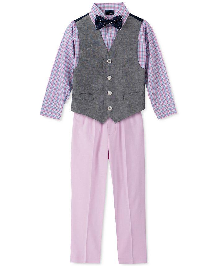 Nautica - Little Boys 4-Pc. Twill Oxford Vest Set
