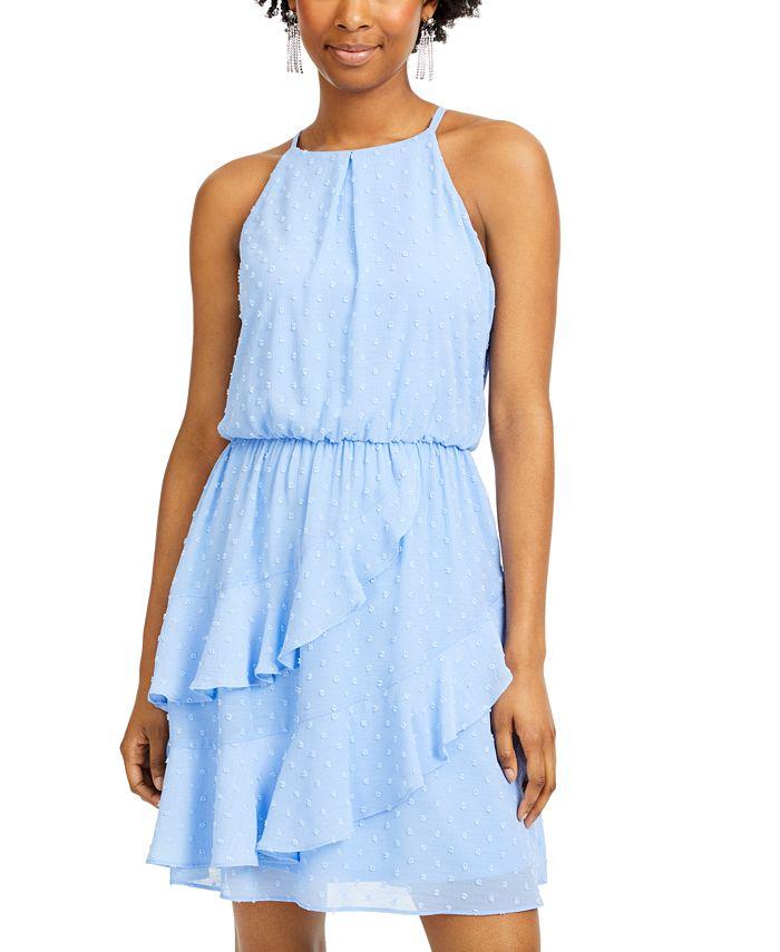 BCX - Juniors' Clip-Dot Ruffled Blouson Dress