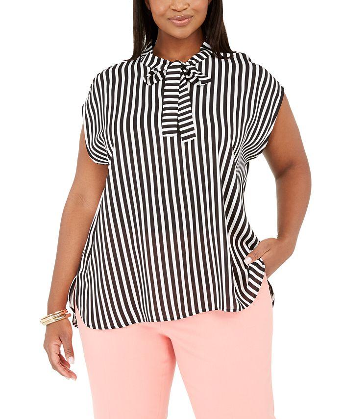 Bar III - Trendy Plus Size Tie-Neck Striped Top
