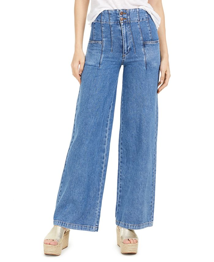 Free People - Midnight City Cotton Wide-Leg Jeans