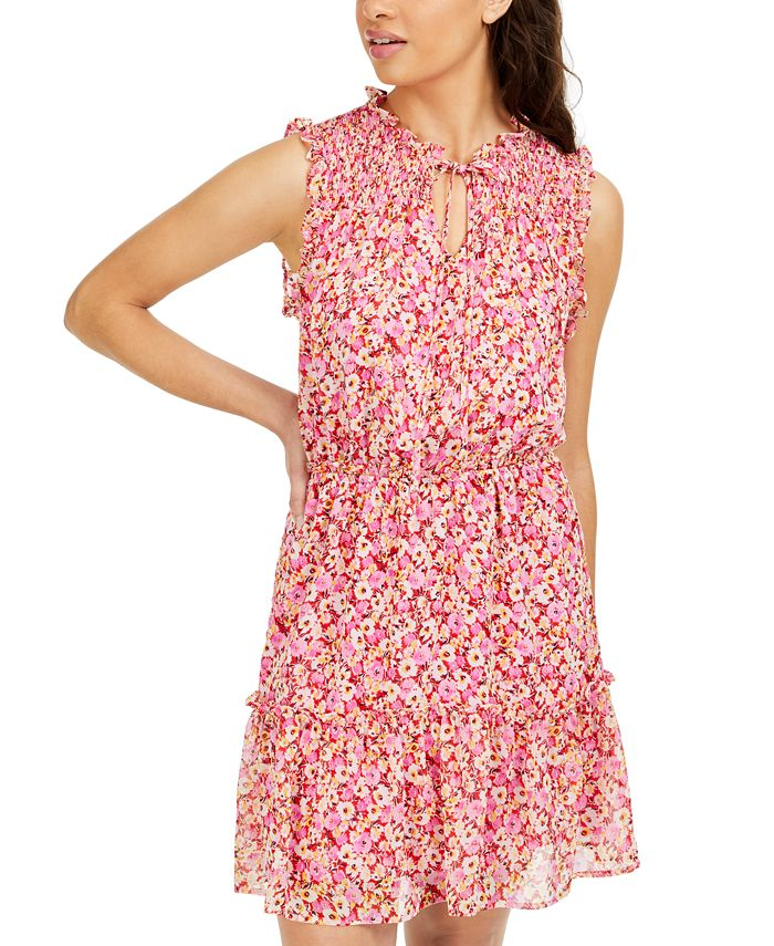 Be Bop - Juniors' Smocked Floral-Print Dress