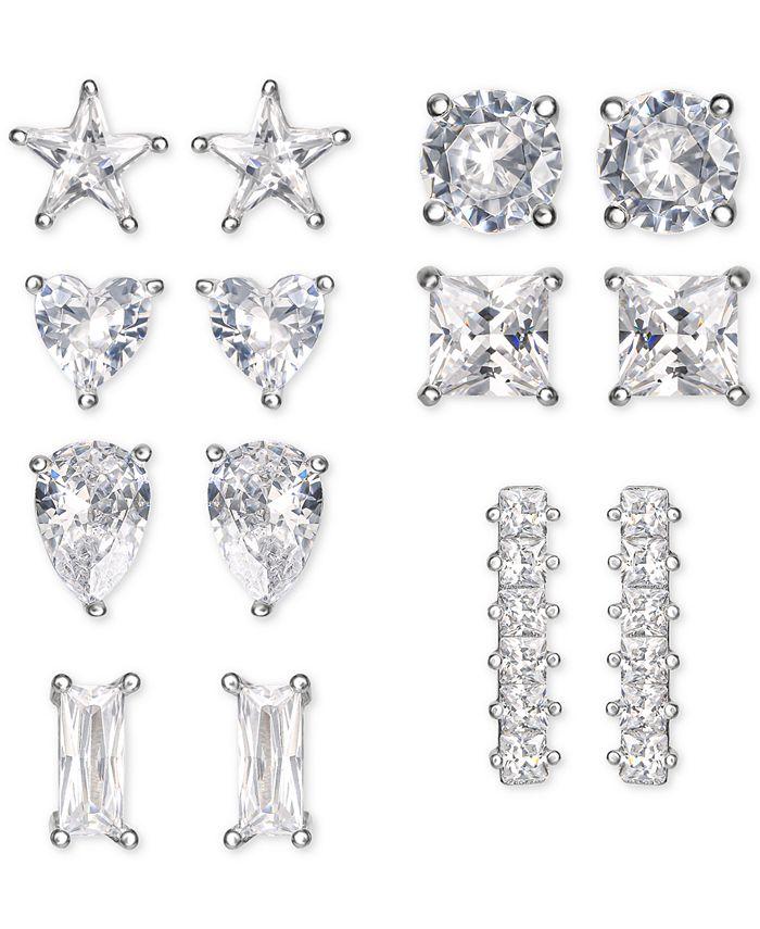 Macy's - 7-Pc. Set Cubic Zirconia Novelty Stud Earrings in Sterling Silver