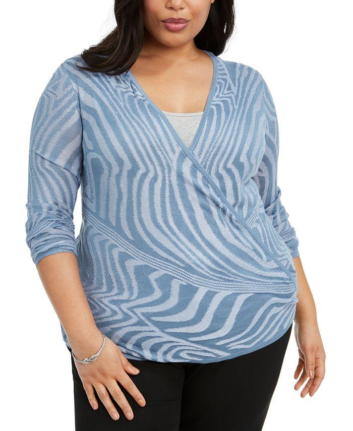 Belldini - Plus Size Optic-Striped Cardigan