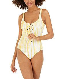 Michael Michael Kors Tie-Dye Lace-Up One-Piece Swimsuit