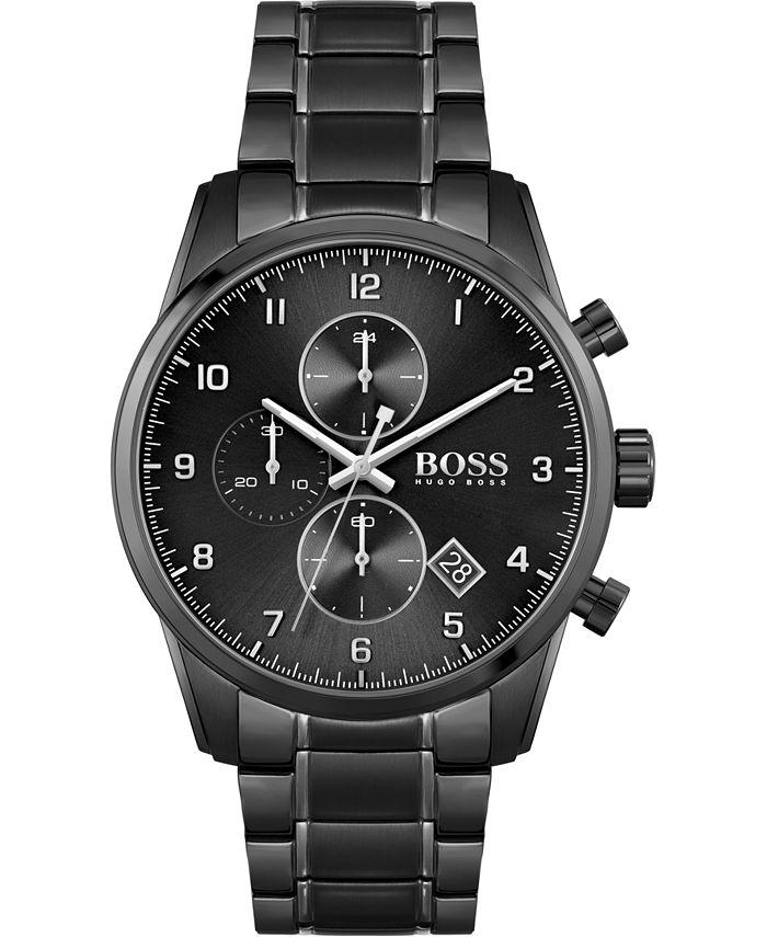 BOSS - Men's Chronograph Skymaster Black Stainless Steel Mesh Bracelet Watch 44mm