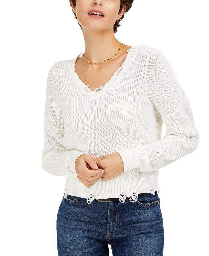 Bar III - Distressed V-Neck Cotton Sweater