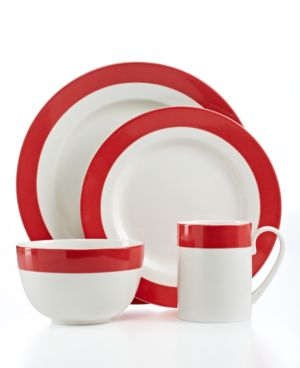 Martha Stewart Collection Classic Band Red 4-Piece Place Setting