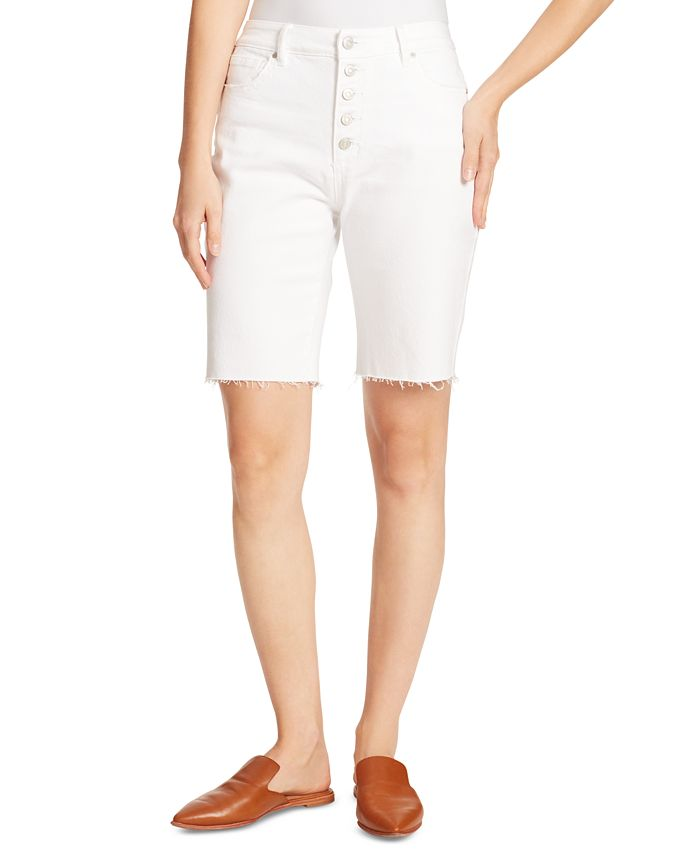 Ella Moss - Denim Frayed-Hem Bermuda Shorts