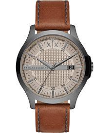 A X Armani Exchange Men's Hampton Brown Leather Strap Watch 46mm