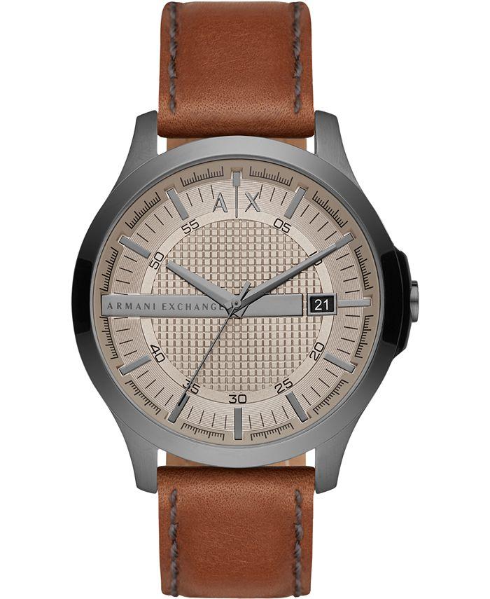 A|X Armani Exchange - Men's Hampton Brown Leather Strap Watch 46mm