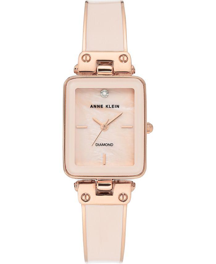 Anne Klein - Women's Diamond Accent Blush & Rose Gold-Tone Bangle Bracelet Watch 22x34mm