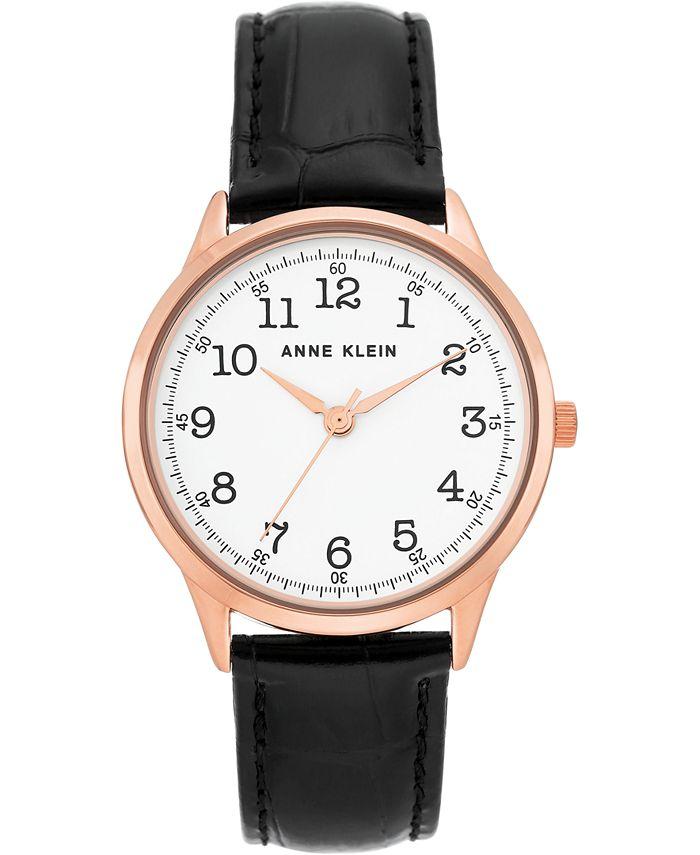 Anne Klein - Women's Black Leather Strap Watch 36mm