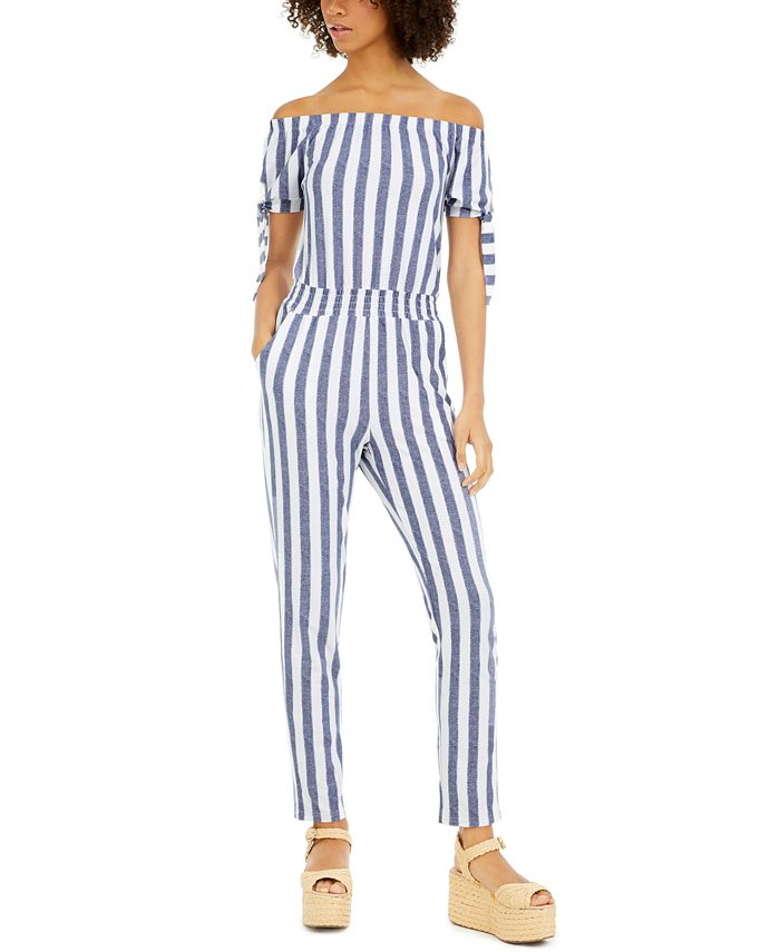 Planet Gold - Juniors' Striped Off-The-Shoulder Jumpsuit