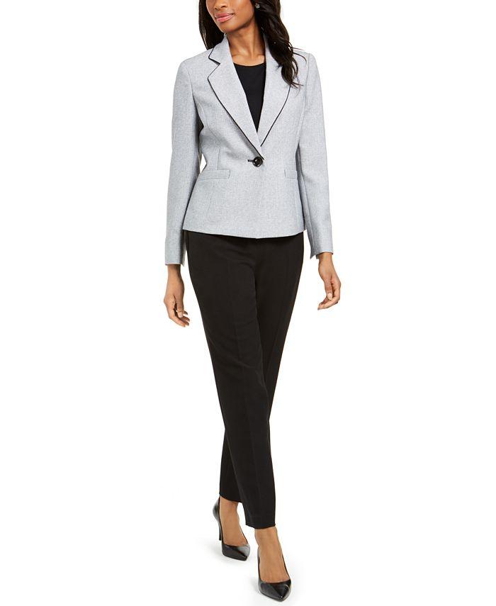 Le Suit - Petite One-Button Notched-Collar Pant Suit