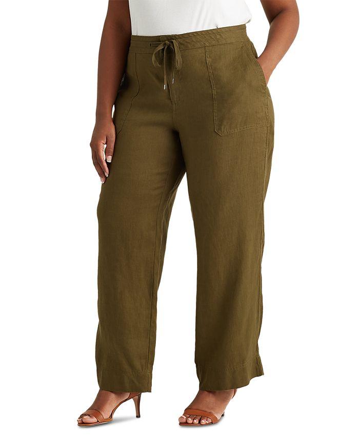 Lauren Ralph Lauren - Plus-Size Linen Wide-Leg Pants