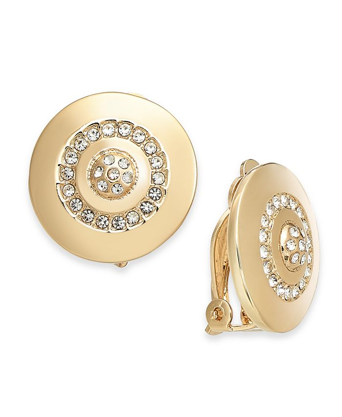 Alfani - Gold-Tone Crystal Accented Disc Clip-On Earrings