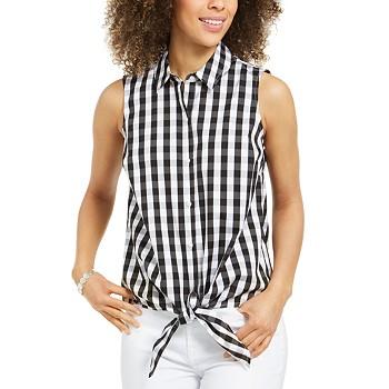 Charter Club Gingham-Print Tie-Hem Shirt