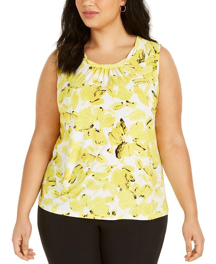 Kasper - Plus Size Twist-Neck Floral-Print Top