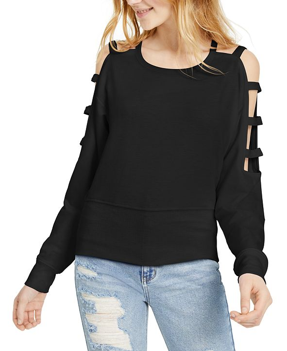 Almost Famous Juniors' Caged Cold-Shoulder Sweatshirt
