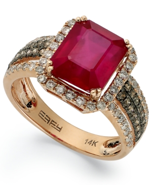 Red Velvet by Effy Ruby (3-3/4 ct. t.w.) and Brown Diamond (5/8 ct. t.w.) Emerald-Cut Ring in 14k Rose Gold
