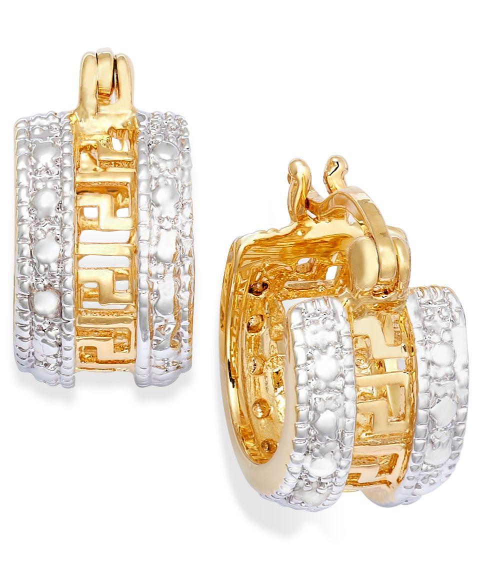 Victoria Townsend 18k Rose Gold over Sterling Silver Earrings, Diamond Accent Greek Key Hoop Earrings   Earrings   Jewelry & Watches