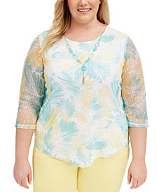 Alfred Dunner Plus Size Spring Lake Printed-Mesh Top
