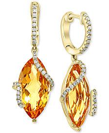 EFFY® Citrine (8-1/2 ct. t.w.) & Diamond (1/4 ct. t.w.) Drop Earrings in 14k Gold