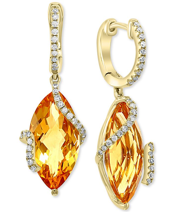 EFFY Collection - Citrine (8-1/2 ct. t.w.) & Diamond (1/4 ct. t.w.) Drop Earrings in 14k Gold