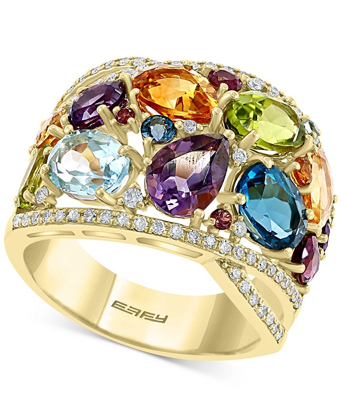 EFFY Collection - Multi-Gemstone (7-1/4 ct. t.w.) & Diamond (1/3 ct. t.w.) Statement Ring in 14k Gold