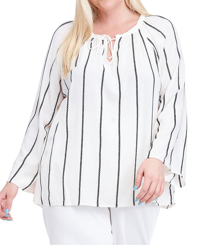 Fever - Plus Size Embroidered-Stripe Peasant Top