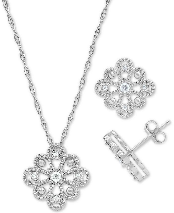 Macy's - 2-Pc. Set Diamond Flower Pendant Necklace & Matching Stud Earrings (1/6 ct. t.w.) in Sterling Silver