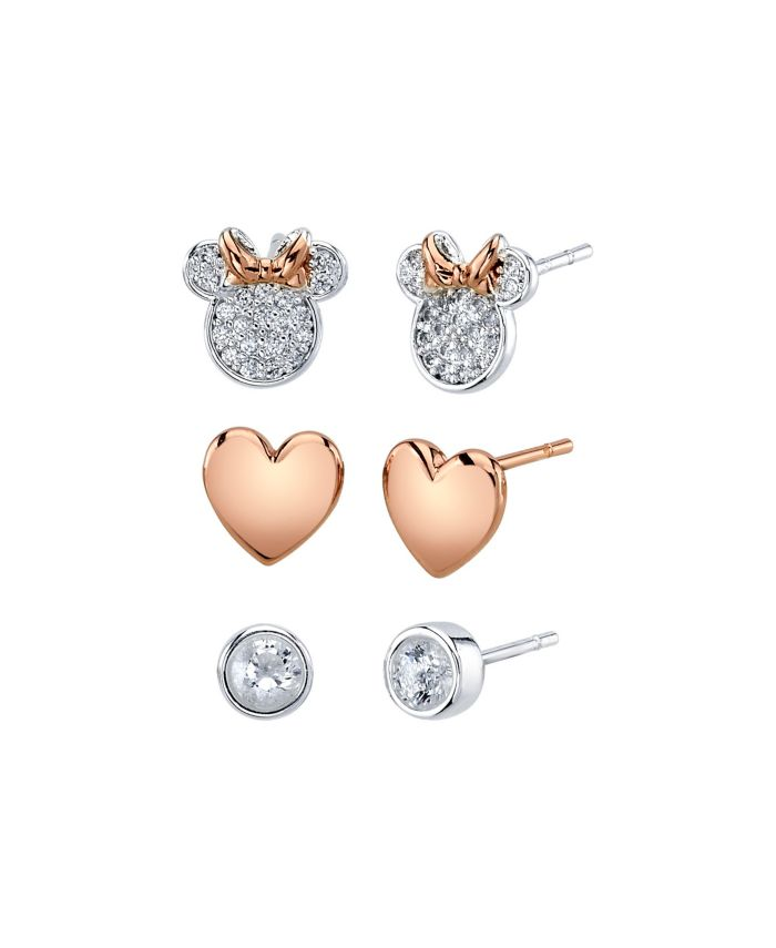 Disney Unwritten Three Pair Silver Plated Two Tone Rose Gold Minnie Mouse Earring Set with Rose Gold Heart and Bezel Cubic Zirconia Stud & Reviews - Earrings - Jewelry & Watches - Macy's