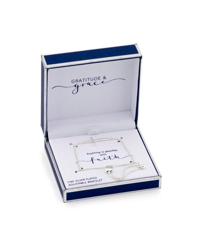 Unwritten Gratitude & Grace Fine Silver Plated Cubic Zirconia Cross Adjustable Bolo Bracelet & Reviews - Bracelets - Jewelry & Watches - Macy's